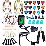 Zubehör für Gitarren, Bosunny 60 PCS Einschließlich Plektren, Kapodaster, Stimmgerät, Akustikgitarrensaiten, 3-in-1-Saitenkurbel, Rücke Pins, Knochen, Fingerpick