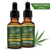 Hanföl für Schmerzlinderung Angst Schlafmittel Natürliche organische Hanfsamen Full Spectrum Extract (2 Pack Hanföl 60ML)