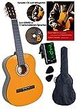Clifton Konzertgitarre 1 4, gepolsterte Tasche,  2 Plectren, Karaoke CD, Lern-DVD, Stimmgerät