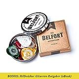 Belfort 16 hochwertige Plektren für Gitarre in edler Geschenk Box Gitarren Plektrum aus extrem robustem Celluloid 4 Stärken: 0.46-1.20mm   BONUS: Gratis Ebook