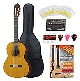 Yamaha CS40 Konzertgitarre 3/4 Set - 3/4 Größe - Decke: Fichte - Boden & Zargen: Meranti - Hals: Nato - Griffbrett & Steg: Palisander - Inkl. Gitarrenstimmgerät - Set mit umfangreichem Zubehör