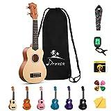Donner Sopran Ukulele 21 Zoll für Kinder Anfänger Ukulele Natürliche Starter Kit mit Nylon Saiten mit Donner Ukulele Online-Lektion Hawaii Gitarre