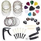 Anvin Zubehör für Gitarren All-in-1 zum Wechseln von Gitarrenwerkzeugen, einschließlich Plektren, Capo, Akustikgitarrensaiten, Saitenwickler, Brückenstiften, Stiftabzieher, Pick-Haltern, Fingerpicks